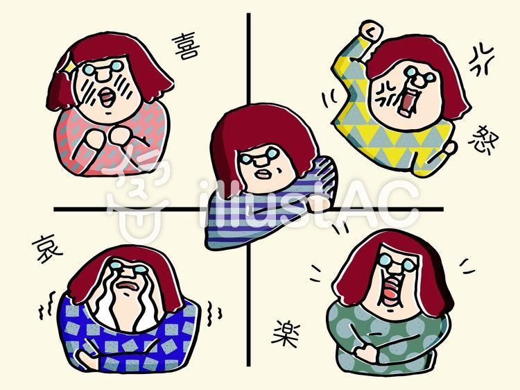 喜怒哀楽 女性の表情のイラスト
