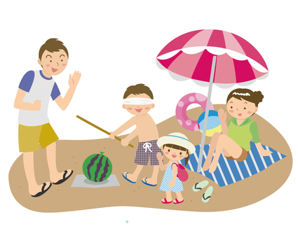 I go to the beach with my family