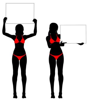 Silhouette of a bikini with a board _ 01