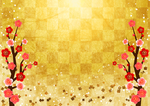 Japanese paper watercolor style checkered pattern and plum blessing background