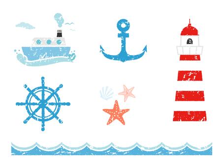 Stamp style marine motif