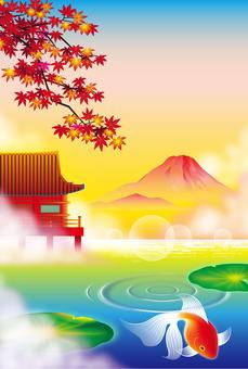 Japanese landscape of goldfish and autumn