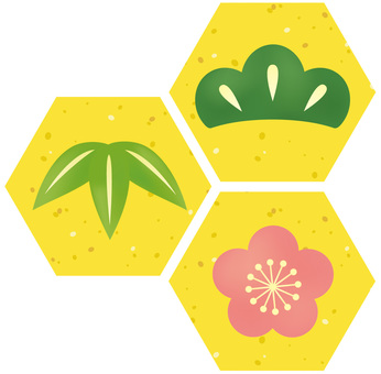 Shochiku Plum: Yellow hexagonal frame