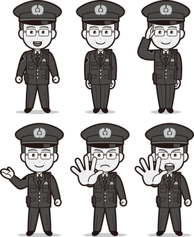 Officer 8 (male / winter clothes) black and white