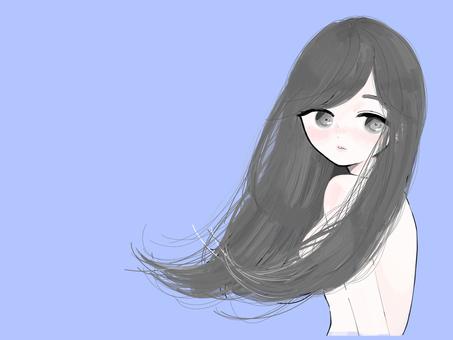 A woman glaring black hair