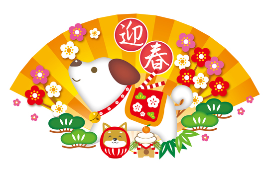 Background of the fans and shochiku plums of the Year-year Spring Festival