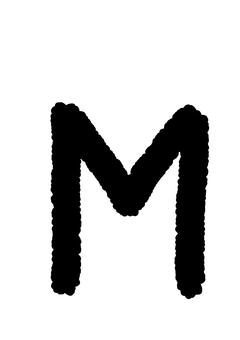 Handwritten alphabet M crayon style