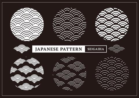 Japanese Pattern Pattern Qinghai Wave _ White