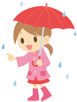 Girl in gumboots holding an umbrella