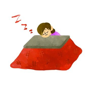 A woman sleeping in a kotatsu