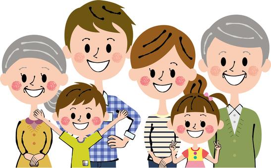 Three household groups Nakayoshi Six people Family upper body