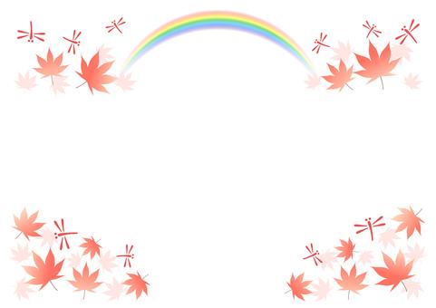 赤とんぼと虹とモミジのフレーム
