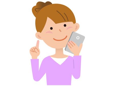 70107. Women, smartphone 1
