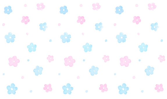 Watercolor hand-drawn * flower scattering pattern * pink & light blue