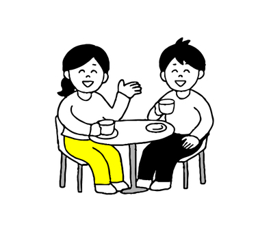 Men and women who talk in a cafe (simple)