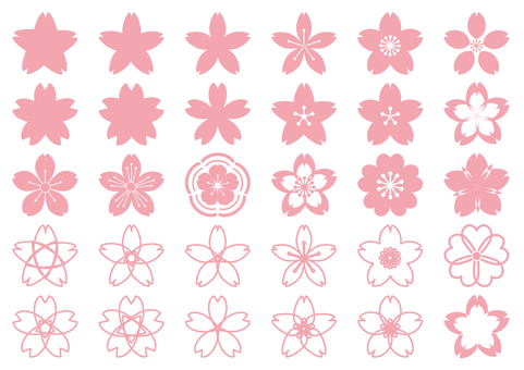 Pink cherry blossom petite - cute Japanese style transparent background