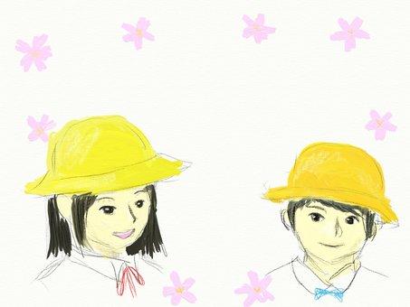 櫻花和兒童的框架
