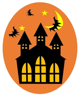 Halloween castle and bat