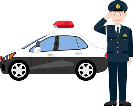 Policeman salute patrol car winter clothes