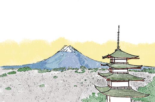 富士山と忠霊塔朝焼け2(透過)