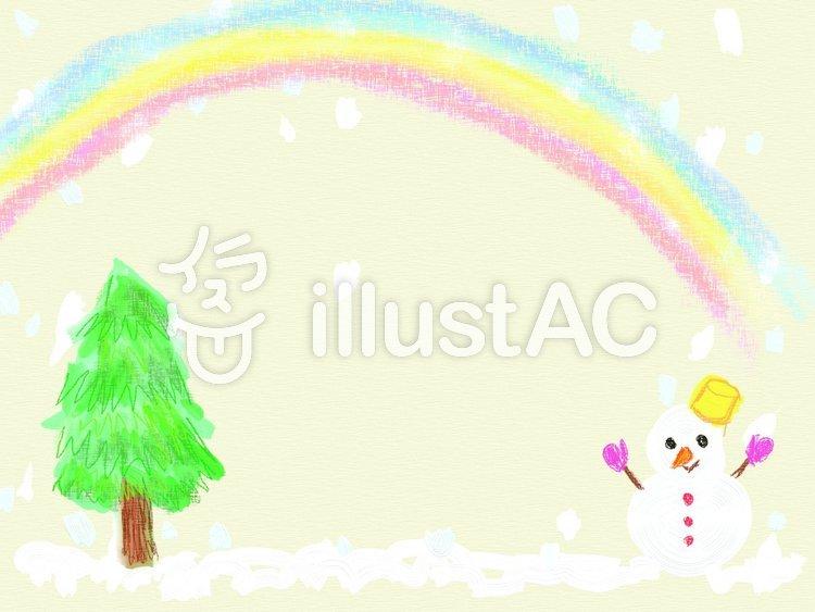 雪だるまと虹のフレームのイラスト