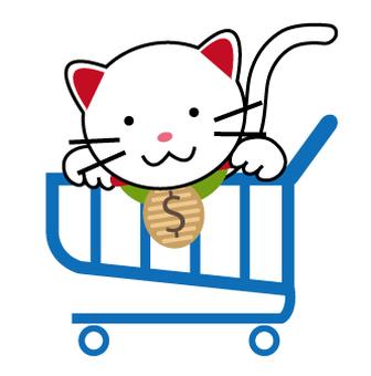 Cat in a shopping cart