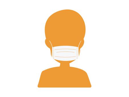 Illustration of wearing a mask (orange)
