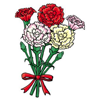 Carnation with handwritten ribbon 04