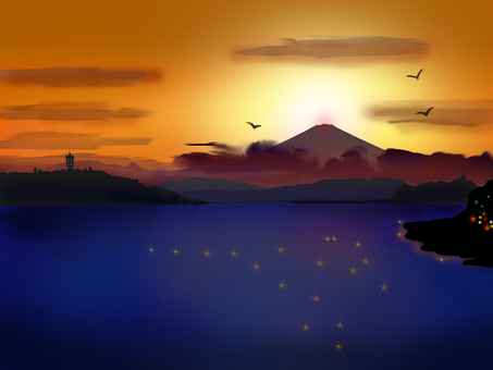 Beautiful sunset of Enoshima and Fuji