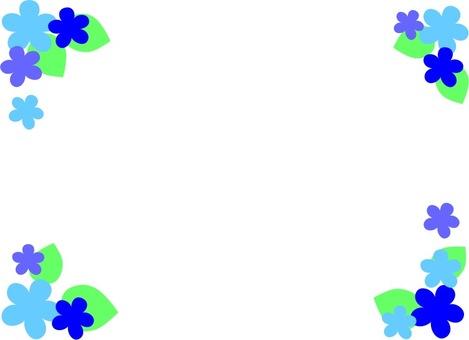 Blue flower and leaf frame