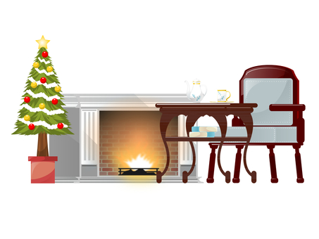 Christmas fireplace set