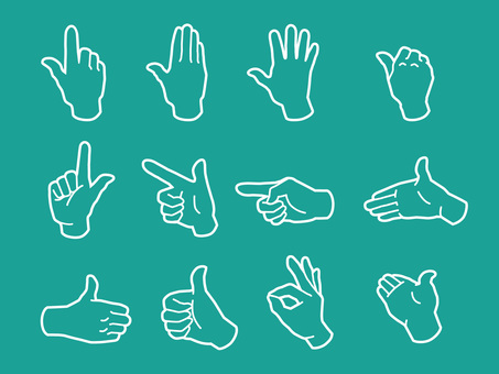 Hand and finger · hand sign · white line