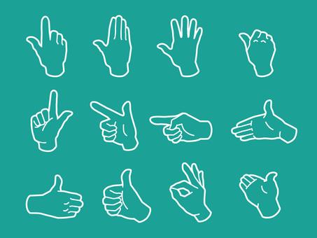 손과 손가락 핸드 사인 흰색 라인