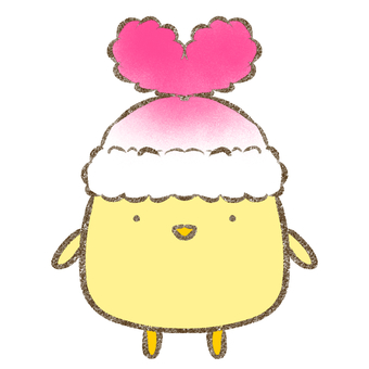 Chick in heart hat / pink