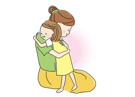 女孩2擁抱媽媽