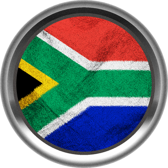 South African Flag Silver Border