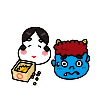 Illustrations of Setsubun Demons and Mumps