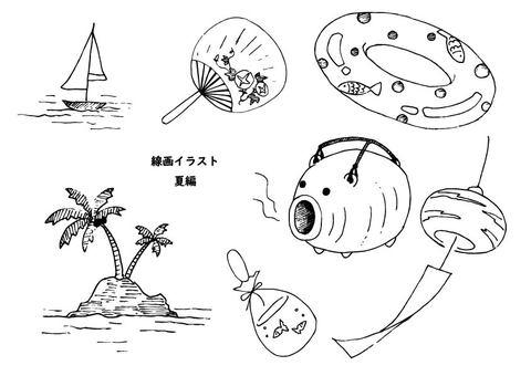 Summer line drawing illustration