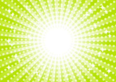緑色の集中線キラキラ背景素材