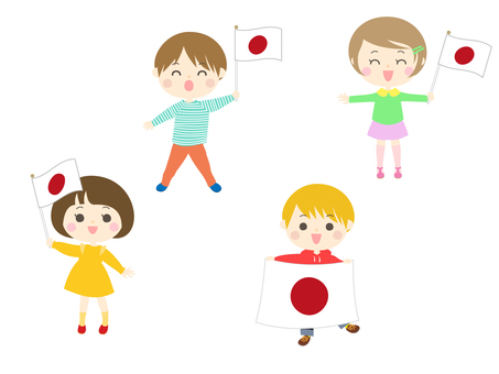 Children cheering with the Japanese flag