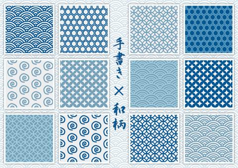 Handwritten Japanese pattern material