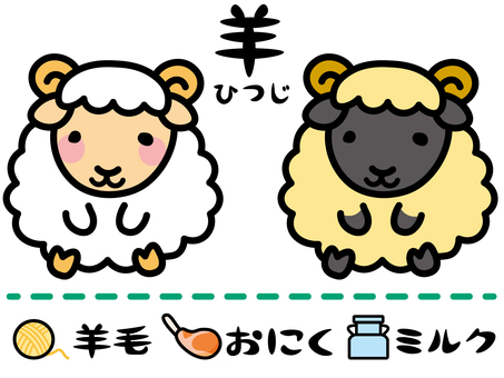 Livestock products icon of sheep and sheep products