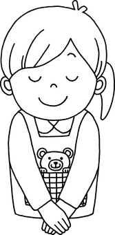 Line drawing Female nursery teacher bowing