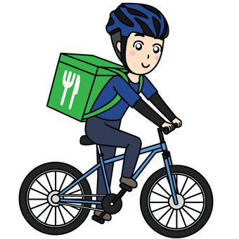 Men delivering food by bicycle