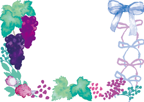 Watercolor style grape frame