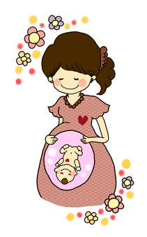 Stomach baby and mother