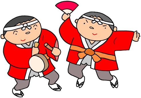 年賀用イラスト.17(正月踊り)