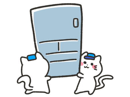 White cat carrying a refrigerator