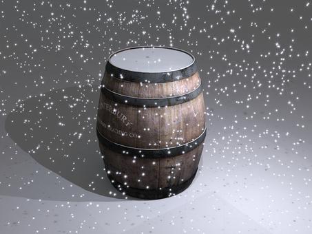 樽に積もる雪に注ぐ光