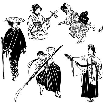 和服女性 黒一色使い 3